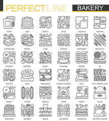 Bakery outline mini concept symbols. Pastry food Modern stroke linear style illustrations set. Food Perfect thin line icons.