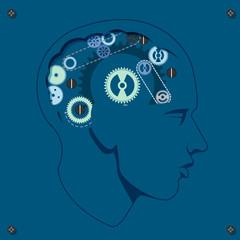 Head with gears brain storming mechanism, vector