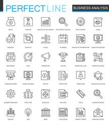 Business analytics thin line web icons set. Finance strategy information outline stroke icons design.