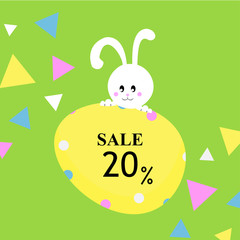 Easter sale banner background template with bunny and eggs. Vector illustration.