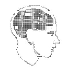 Halftone Human head brain, vector