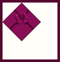 Gift violet satin ribbon bow gift card, vector
