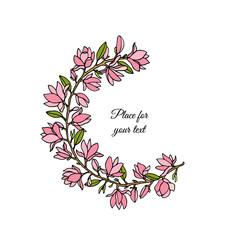 Hand drawn magnolia wreath