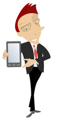 Smiling man holds a smart phone isolated illustration. Cartoon smiling man shows a smart phone isolated on white illustration