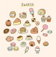 色んなお菓子のイラスト素材