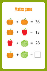 Maths game with pictures (vegetables) for children, middle level, education game for kids, preschool worksheet activity, task for the development of logical thinking, vector illustration