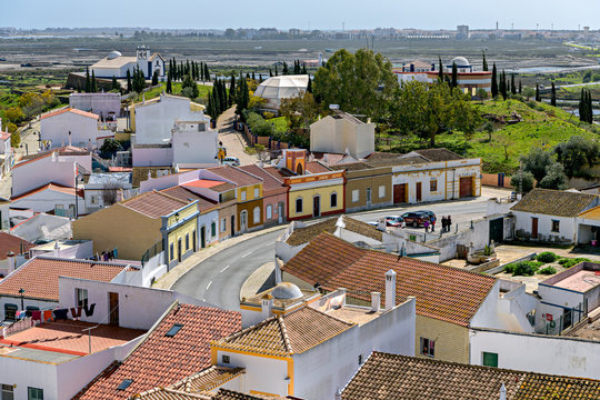 Village of Castro Marim in Southern Portugal; high angle view