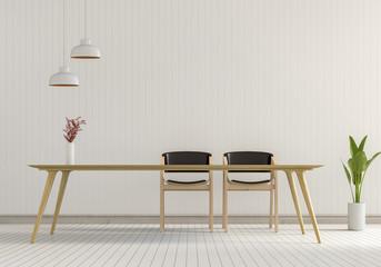 interior modern room of Minimal style dining room. 3d render
