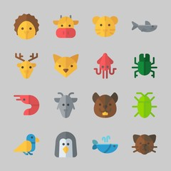 Icons about Animals with shark, bird, hedgehog, deer, cockroach and prawn