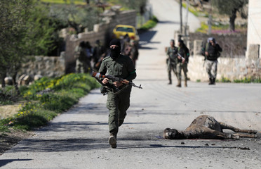 Turkish-backed Free Syrian Army fighter runs next to the carcass of a dead animal north of Afrin