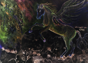 Psychedelic prancing horse with wings. The dabbing technique near the edges gives a soft focus effect due to the altered surface roughness of the paper.