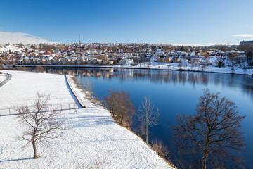 Stadtansicht von Trondheim im Winter