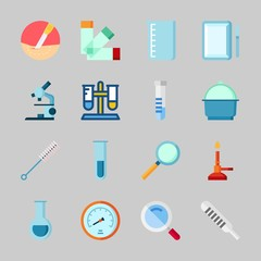 Icons about Laboratory with loupe, beaker, microscope, test tube, velocity and thermometer
