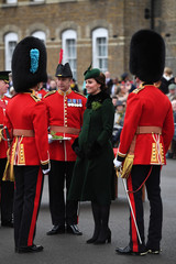 Britain's Catherine, Duchess of Cambridge attends the presentation of Shamrock to the 1st Battalion Irish Guards, at a St Patrick's Day parade at Cavalry Barracks in Hounslow, London