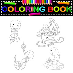 worm coloring book