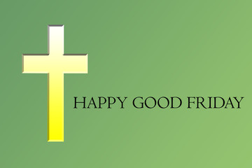 A Holy cross with yellow gradient wishing Happy Good Friday.