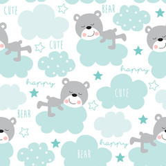seamless teddy bear and clouds pattern vector illustration