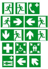 Sammlung von aktuellen Rettungszeichen nach ASR A1.3. Eps 10 Vektor Datei