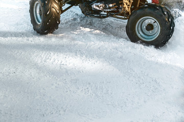 Quad bike ATV in the snow.