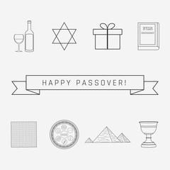 Passover holiday flat design black thin line icons set with text in english