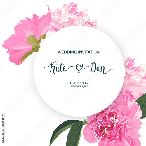 wedding invitation with peonies invite save the date party