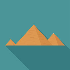 Pyramids flat long shadow design icon