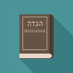Passover holiday haggadah book flat long shadow design icon