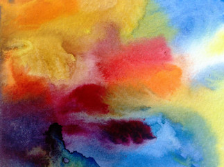 watercolor art abstract  background  bright  wash blurred textured  decoration  handmade beautiful colorful  stains dye sky clouds air day fantasy sunset rainbow  creative