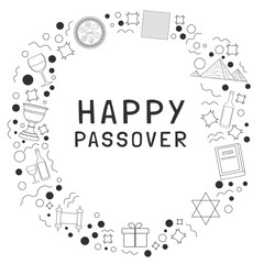 Frame with Passover holiday flat design black thin line icons with text in english