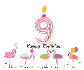 Nine candle. Happy ninth birthday candle letter. Exotic birds. Set of different poses flamingos. Colorful flamingo