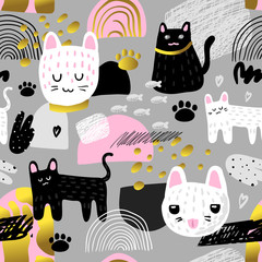 Cute Cats Seamless Pattern. Childish Background with Kitten and Abstract Elements. Baby Freehand Design for Fabric, Textile, Wallpaper, Wrapping. Vector illustration