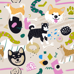 Cute Dogs Seamless Pattern. Childish Background with Akita Inu and Abstract Elements. Baby Freehand Doodle for Fabric Textile, Wallpaper, Wrapping. Vector illustration