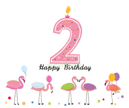Two candle. Happy second birthday candle letter. Exotic birds. Set of different poses flamingos. Colorful flamingo