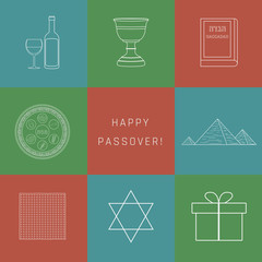 Passover holiday flat design white thin line icons set with text in english
