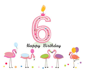 Six candle. Happy sixth birthday candle letter. Exotic birds. Set of different poses flamingos. Colorful flamingo