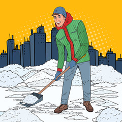 Pop Art Man Clearing Snow with Shovel. Winter Snowfall in the City. Vector illustration