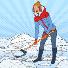 Pop Art Pretty Woman Clearing Snow with Shovel. Winter Snowfall. Vector illustration