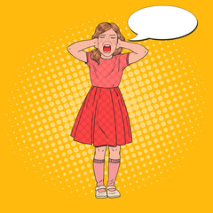 Pop Art Angry Little Girl Screaming. Aggressive Child. Kid Emotional Facial Expression. Vector illustration