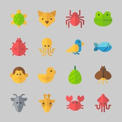 Icons about Animals with frog, cocoon, crab, ladybug, turtle and fish