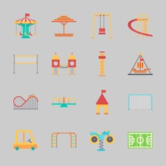 Icons about Amusement Park with climb , slide, pirate ship ride , soccer field, swing  and sunshade
