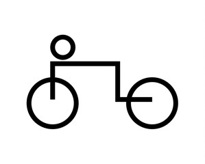 Pictogram of bicycle and driver