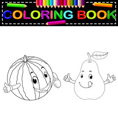 watermelon and pear with face coloring book