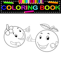 mangosteen and orange with face coloring book