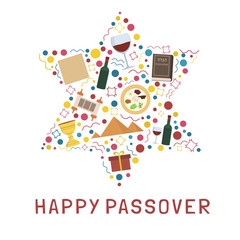 Passover holiday flat design icons set in star of david shape with text in english
