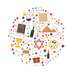 Passover holiday flat design icons set in round shape