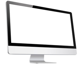 Computer, Monitor, in Imac style realistic on white background, Imac perspective view,  3D, isolated – vector illustration