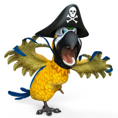pirate parrot cartoon being aggressive side view