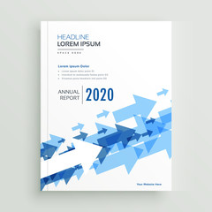 annual report brochure design with blue arrows