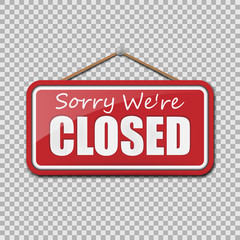 Closed Sign isolated on transparent background. Vector illustration.