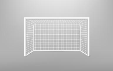 Football soccer goal realistic sports equipment. Football goal with shadow. isolated on transparent background. Vector illustration.